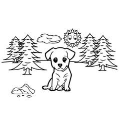 dog cartoon coloring book vector image