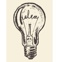 Drawn light bulb idea concept vintage vector image