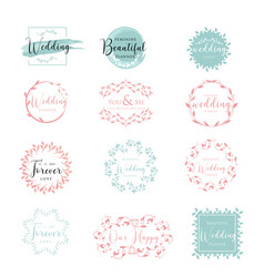 Elegant and feminine floral wedding logo vector