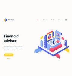 financial advisor service isometric landing page vector image