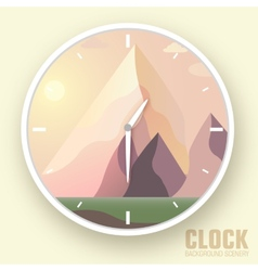 Flat colorful nature mountain clockIcons vector