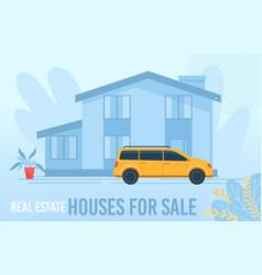 Flat floral design poster offering houses for sale vector