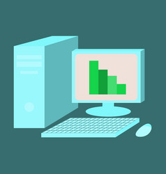 Flat icon on stylish background office computer vector