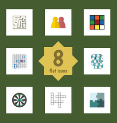 flat icon play set of arrow cube multiplayer and vector image