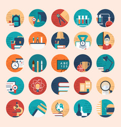 flat icons and in school theme vector image