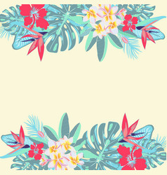 Flowers palm leaves jungle leaves vector