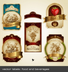 food and beverage labels vector image vector image