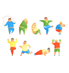 Funny chubby man character doing gym workout set vector
