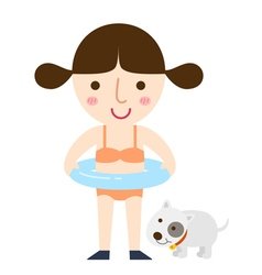 girl swimming vector image