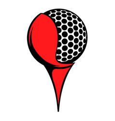 golf ball on a tee icon icon cartoon vector image