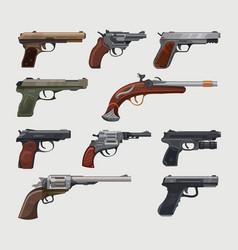 guns pistols revolvers vintage retro handguns vector image