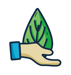 Hand with leaf to environment care sign vector
