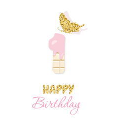 happy birthday greeting card with chocolate number vector image