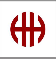 Hh circle initials letter logo vector