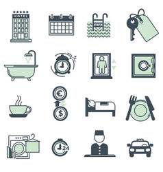 Hotel amenities and services icons collection on vector