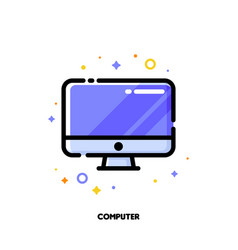 icon of desktop or pc for office work concept vector image