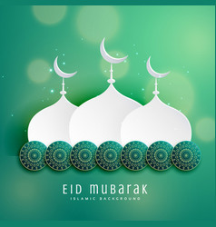 Islamic eid festival design with mosque and vector