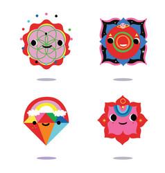 Kawaii style sacred symbols icons vector