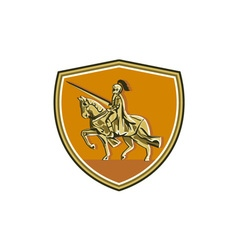Knight Riding Steed Lance Shield Retro vector