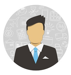 Man in Business Suit with icons vector