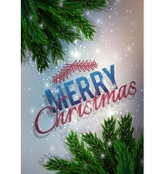 Merry Christmas A fir-tree branch on it is violet vector image