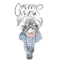 Merry christmas handdrawn white and black modern vector