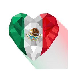 Mexican heart flag of the mexico vector