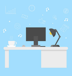 modern office desk with computer coffee and lamp vector image