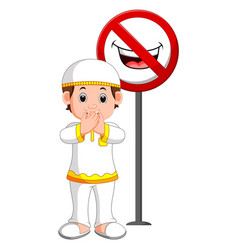 Muslim kid closed mouth vector