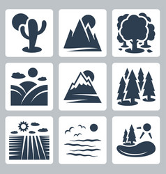 nature icons set desert mountains forest meadow vector image