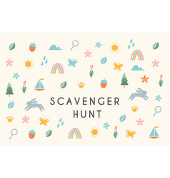 Nature scavenger hunt kids activity vector