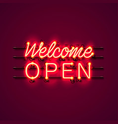 Neon welcome open signboard vector