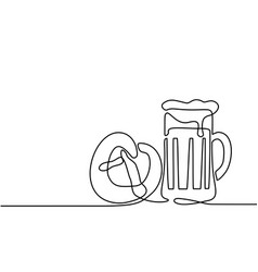 oktoberfest beer mug and pretzel vector image