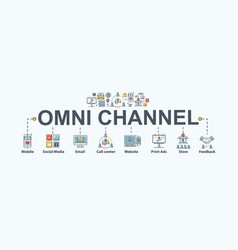 Omni channel banner web icon for business and vector