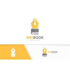 Pen and book logo combination write vector