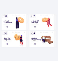People and fresh bakery website landing page set vector