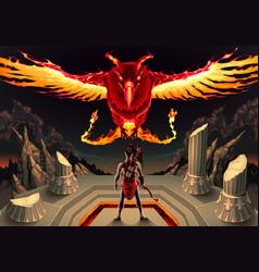 Phoenix and man vector