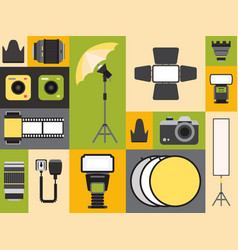 Photography supply icons in colorful collage vector