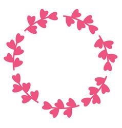 pink floral frame silhouette heart leaves border vector image