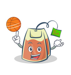 playing basketball tea bag character cartoon vector image