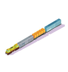 Railroad train isometric composition vector