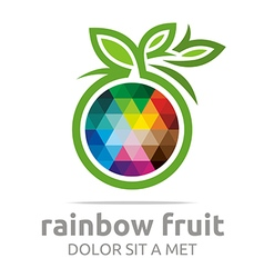 Rainbow fruit logo food nutrition symbol vector