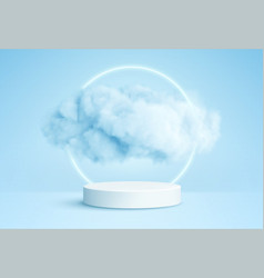 Realistic white fluffy clouds in product podium vector