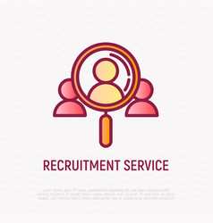 Recruitment service thin line icon looking vector