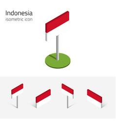 Republic indonesia flag set 3d isometric vector
