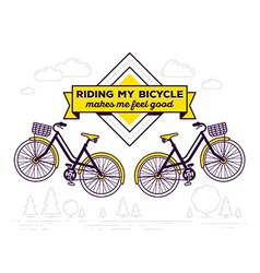 Retro bicycle with basket and text riding vector