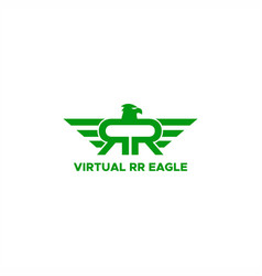 rr virtual reality eagle logo vector image
