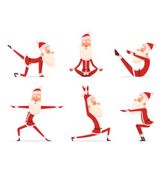 santa yoga relax winter cute healthy christmas vector image