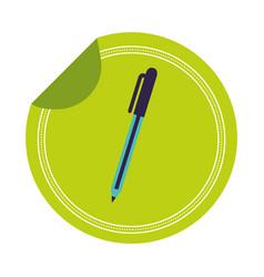school pen sticker on white background vector image