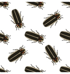 Seamless pattern with firefly beetle Lampyridae vector